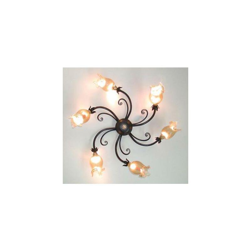 Lampadario plafoniera lucciola in ferro battuto 6 luci lampade lampione applique