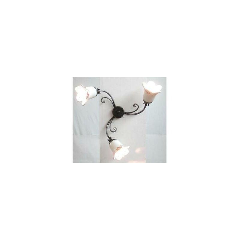 Lampadario plafoniera neve a 3 luci in ferro battuto cruccolini lampade lampione