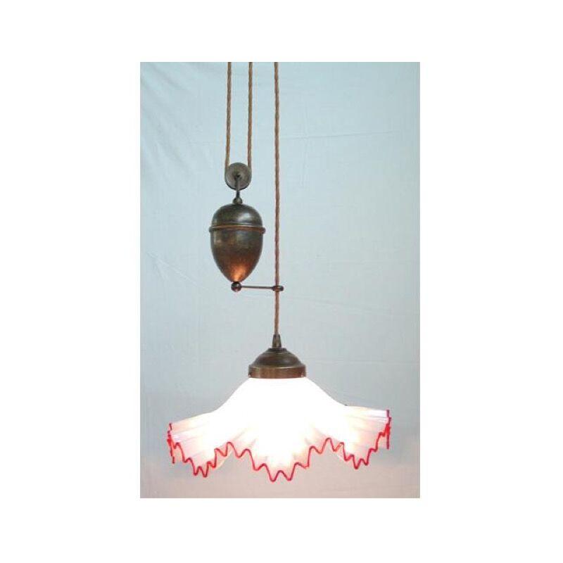 Lampadario saliscendi murano 1 luce in ferro battuto cruccolini rosso o blu colore: rosso