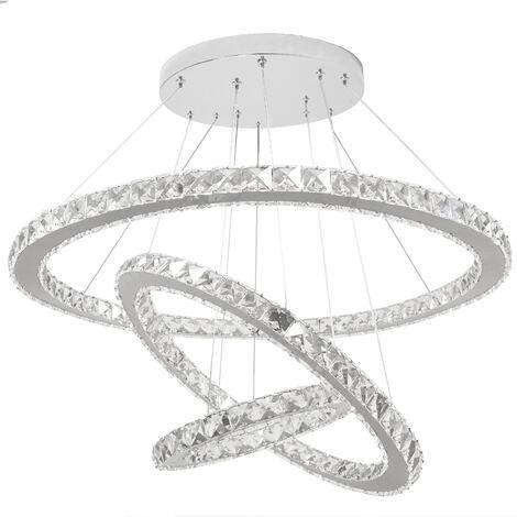 Lampadari Moderni Eleganti.Lampadario Sospeso Con Tre Anelli E Luci Led 98w Moderno