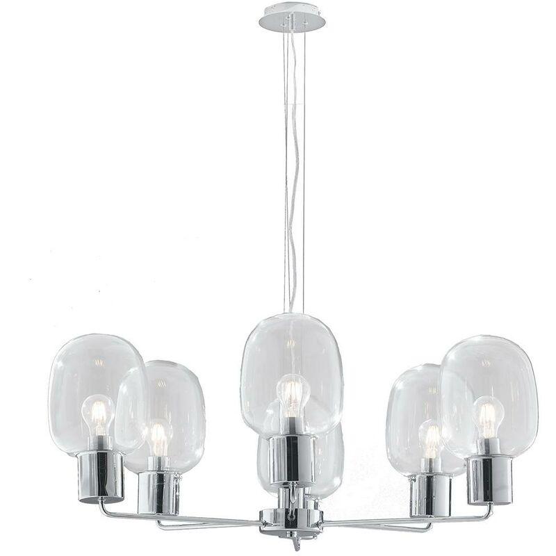 Lampadari In Vetro Soffiato.Lampadario Sospeso Cromato Paralumi In Vetro Soffiato Trasparente Moderno E27 Ambiente I Fellini S6