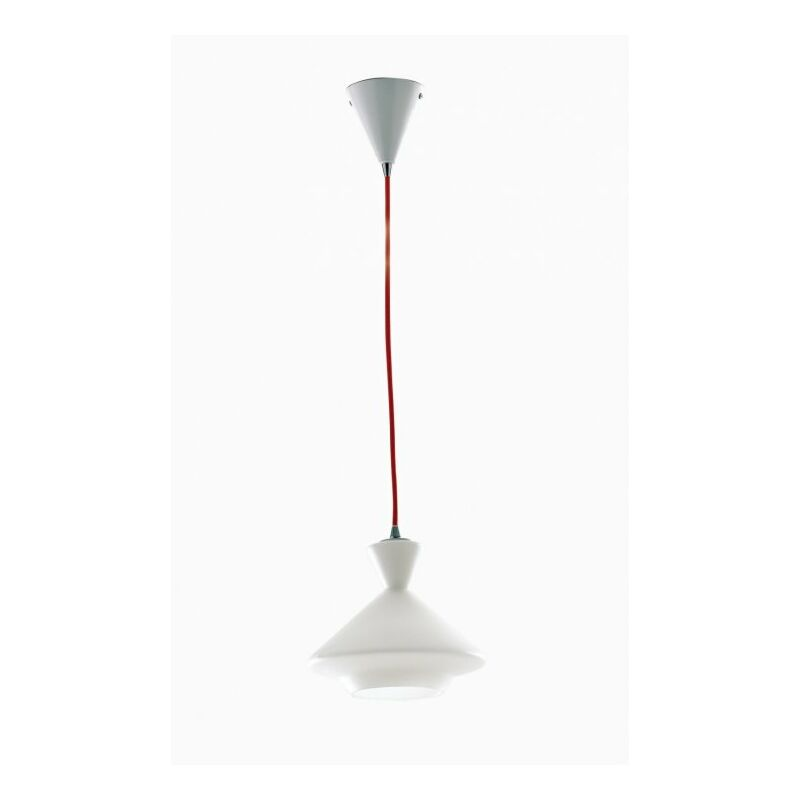 Lampadario bianco con decoro geometrico 60 watt E27