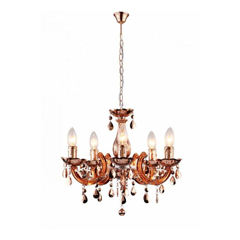 Lampadario sospeso ramato moderno con decorazioni a fiore e cristalli 40 watt E14