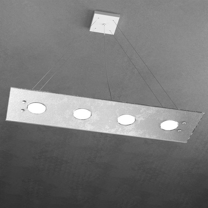 Lampadario top light path 1141 s4 r+3 gx53 led vetro rettangolare biemissione sospensione moderna interno
