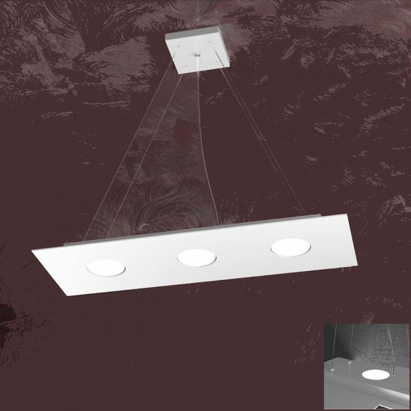 Lampadario tp-area 1127 s3 r+2 45w gx53 led 60x20 biemissione metallo bianco sospensione moderna rettangolare - TOP LIGHT