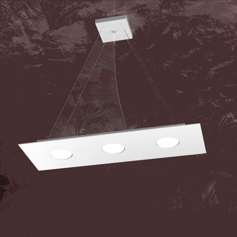 Lampadario tp-area 1127 s3 r 27w gx53 led 60x20 monoemissione metallo bianco sospensione moderna rettangolare