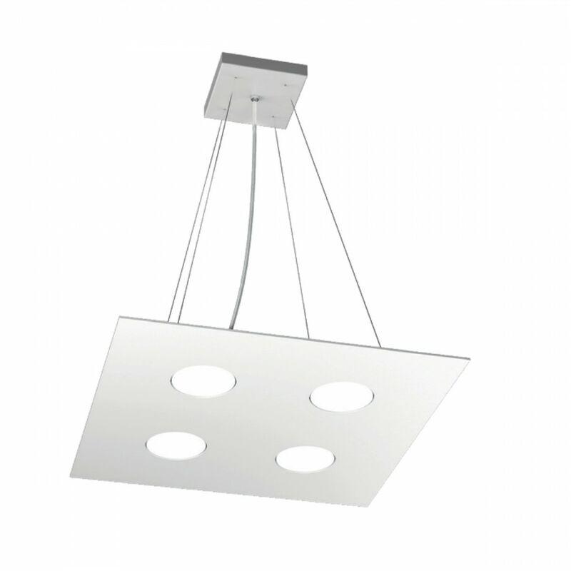 Lampadario tp-area 1127 s4+2 54w gx53 led 40x40 biemissione metallo bianco sospensione moderna quadrata - TOP LIGHT