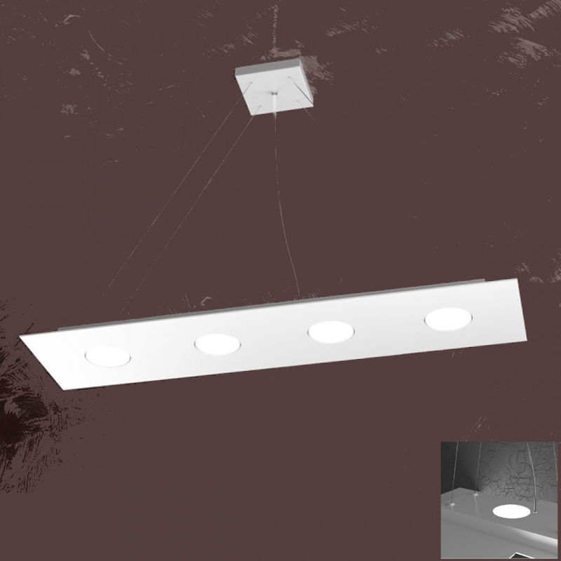 Top Light - Lampadario tp-area 1127 s4 r+3 63w gx53 led 80x20 biemissione metallo bianco sospensione moderna rettangolare