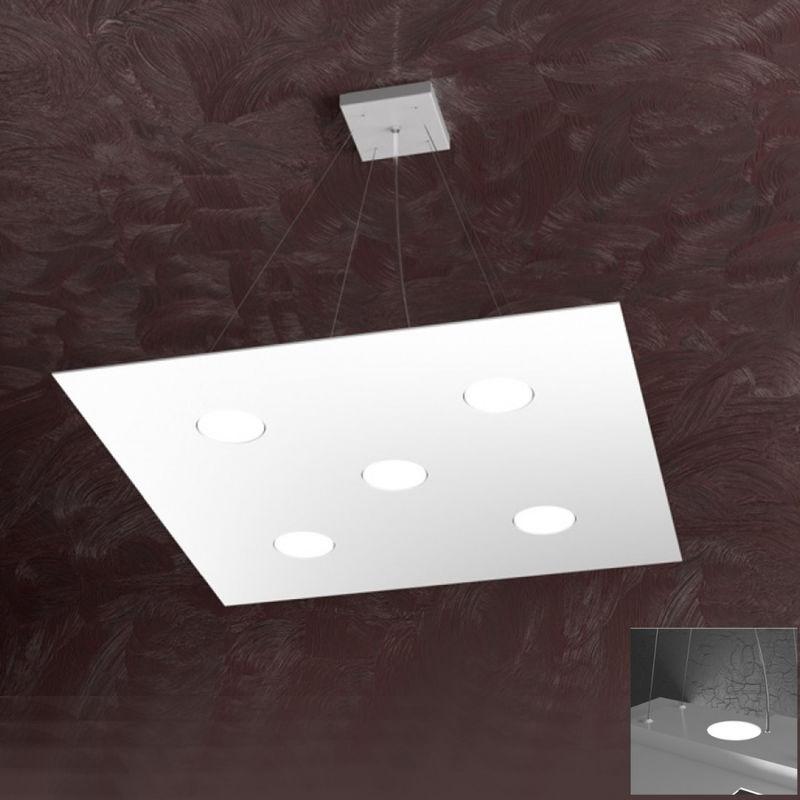 Top Light - Lampadario tp-area 1127 s5+2 63w gx53 led 60x60 biemissione metallo bianco sospensione moderna quadrata
