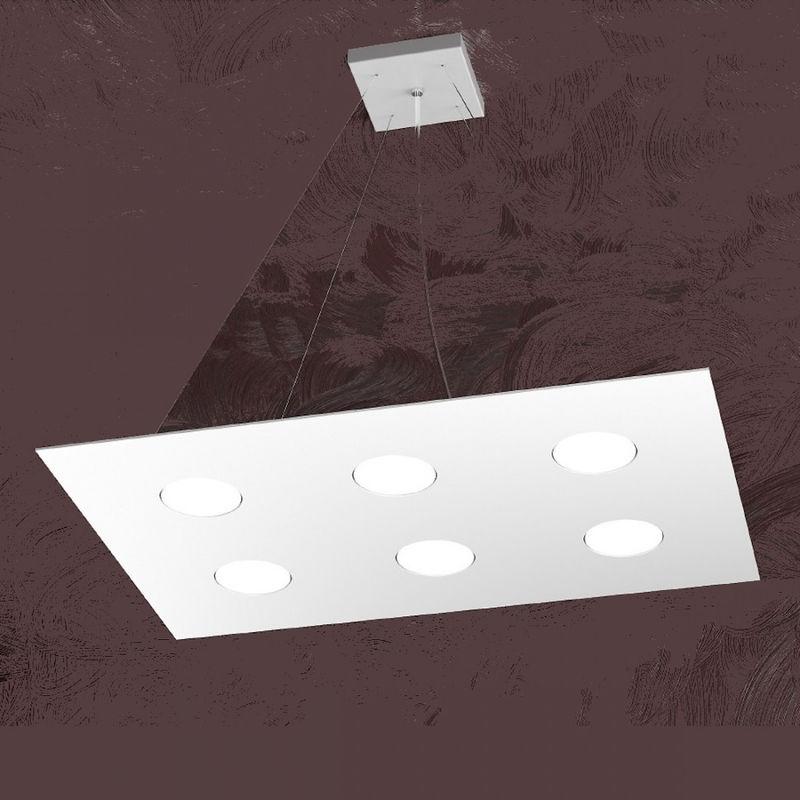 Top Light - Lampadario tp-area 1127 s6 r 54w gx53 led 60x40 monoemissione metallo bianco sospensione moderna rettangolare