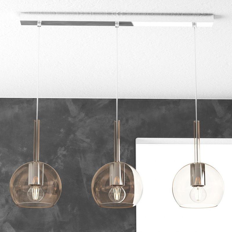 Design Moderno Potenza 60W Bianco Con Struttura In Metallo E Paralume In Tessuto Lampadario A Forma Di Ampolla Attacco 1xE27