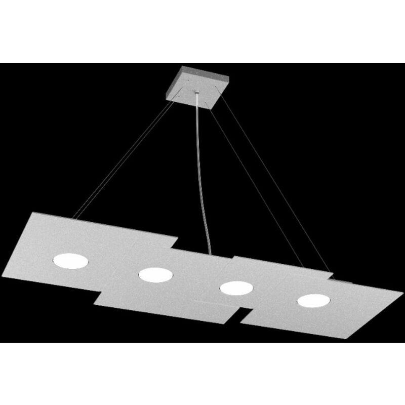 Top Light - Lampadario tp-plate 1129 s4 r 36w gx53 led 86x37 rettangolare metallo bianco grigio sabbia monoemissione sospensione moderna, finitura