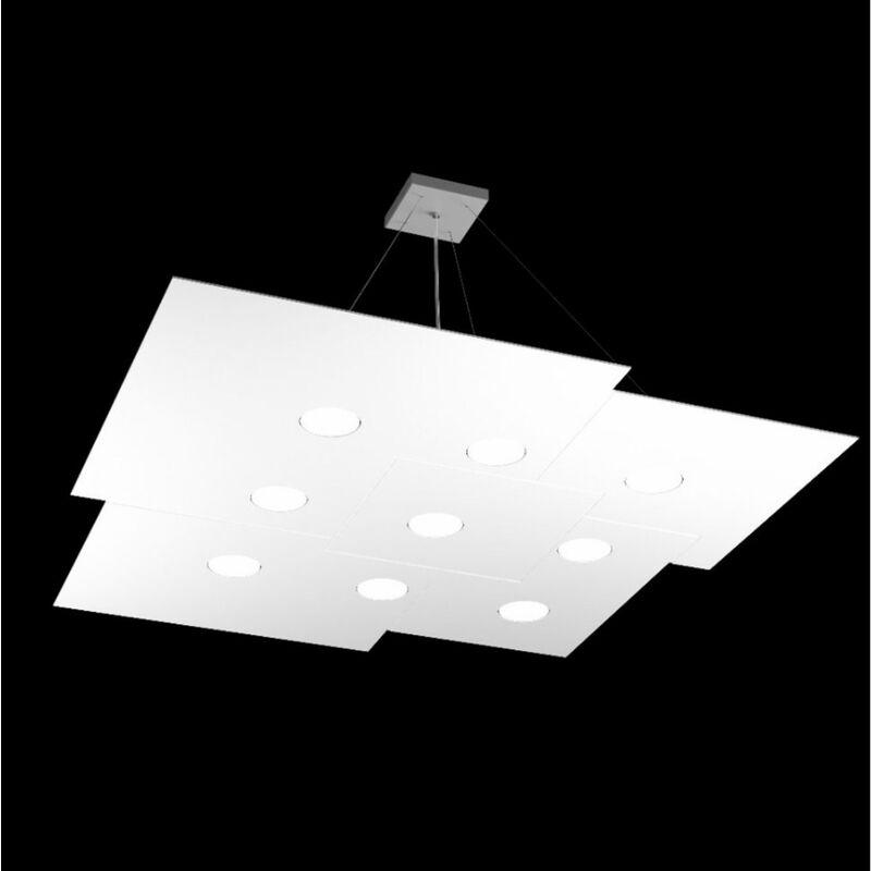 Top Light - Lampadario tp-plate 1129 s9 +4 117w gx53 led 91x89 metallo bianco grigio sabbia biemissione sospensione moderna, finitura metallo bianco