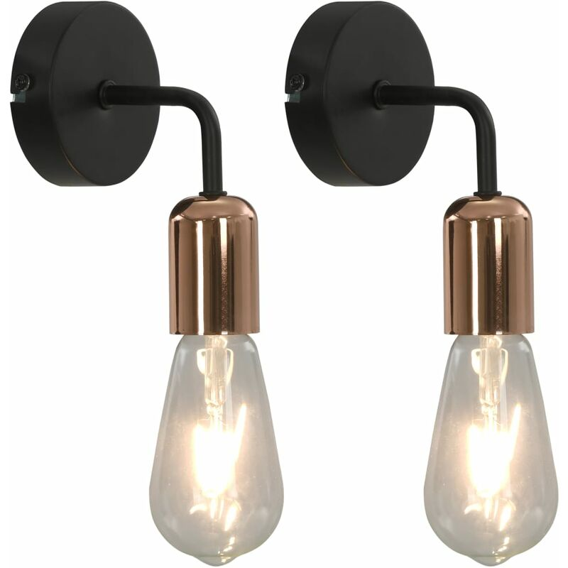 vidaXL Lampade da Parete 2 pz con Lampadine 2 W Nero e Rame E27 - Negro