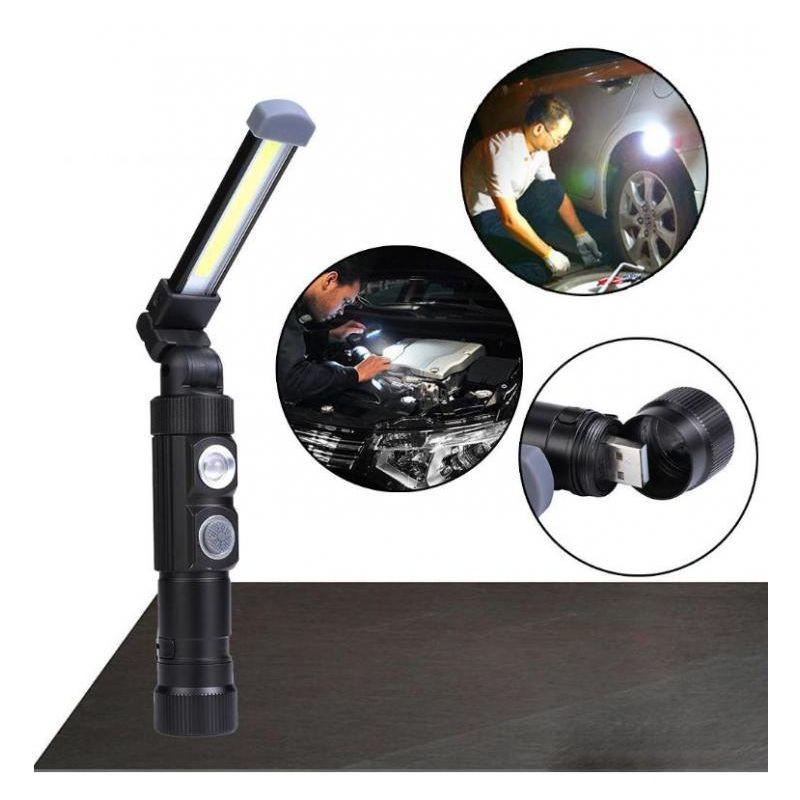 Lampade di ispezione USB ricaricabile LED da lavoro Pieghevole Torcia con magnet