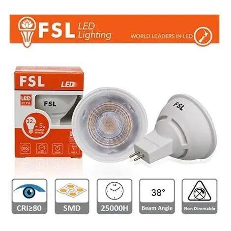lampadina a led mr16 12 volt 25000 ore 38° 6 watt A+ CE GX5,3 bianco caldo no fsl 925316