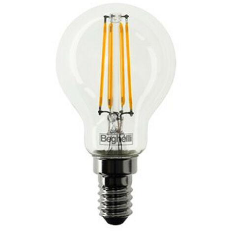 Lampadina Beghelli Sfera Zafiro LED E14 4W 2700K luce calda 56422