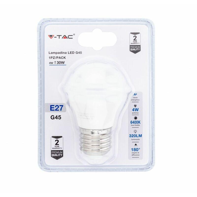 Lampadina LED V-TAC E27 4W G45 6400K (Blister 1 Pezzo)