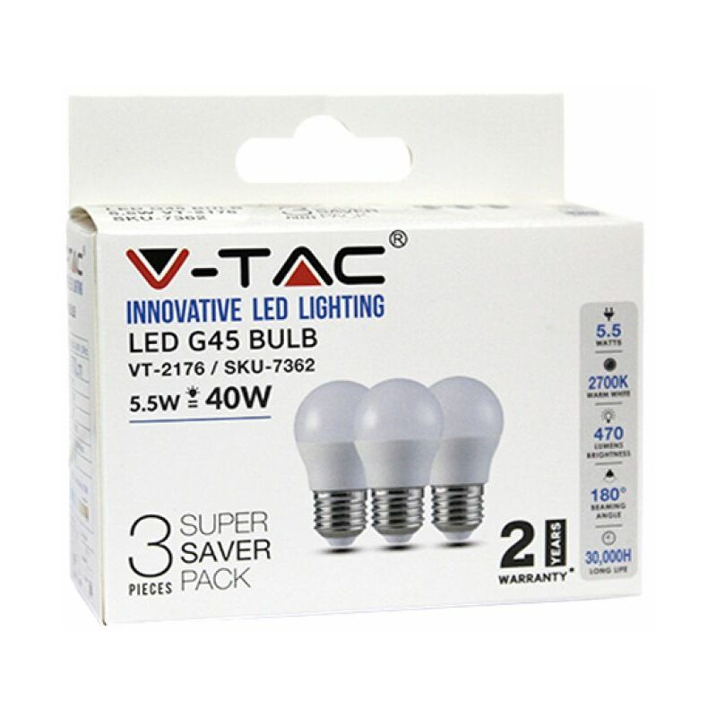 Lampadina LED E27 5,5W G45 2700K (Box 3 pezzi) - V-tac
