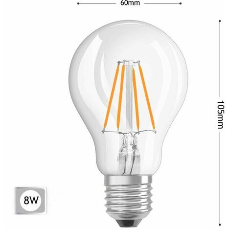 LAMPADINA LED LUCE CALDA 8W FILAMENTO IN VETRO TRASPARENTE E27 8 W E 27 A60-T8C