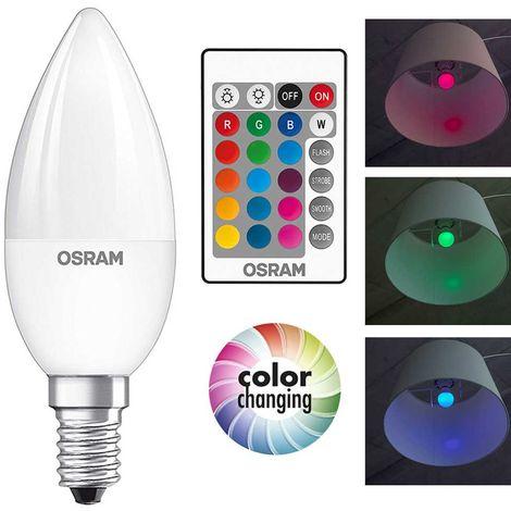 Lampadina LED RGB Bulbo E14 da 4,5W 2700K 250 Lumen Cambio Colore e Telecomando
