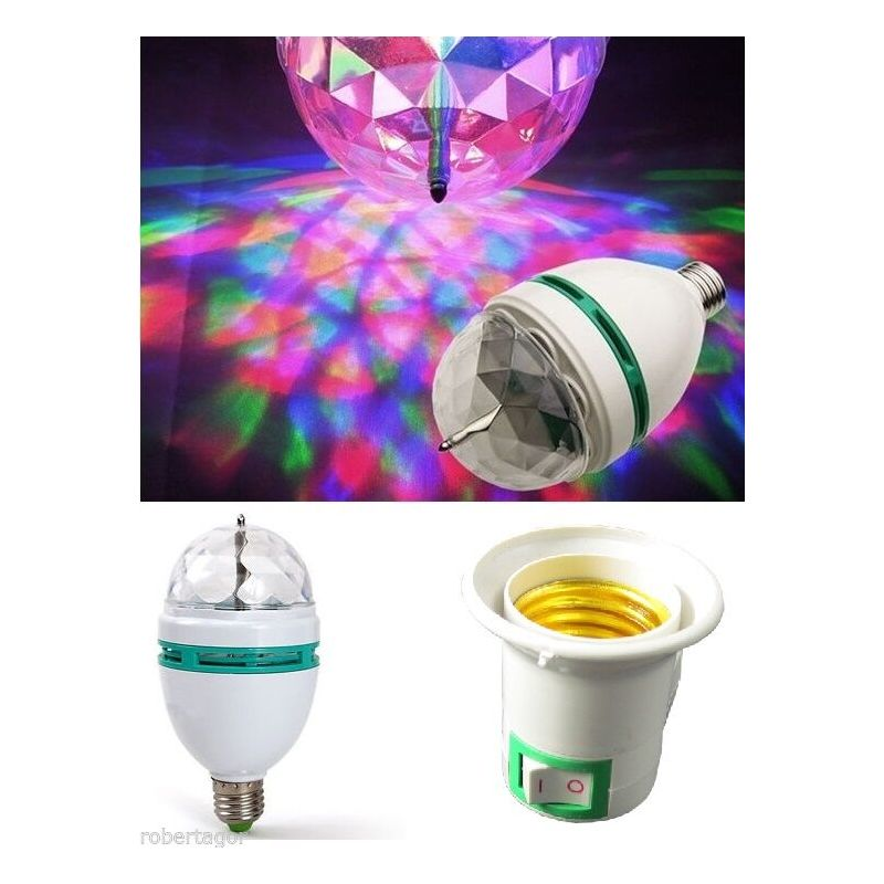 Driwei - Lampadina led rgb multicolor 3 luce led colora rotante 3w con spina