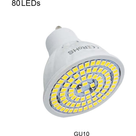 Lampara 220V GU10 LED bulbo del proyector, la luz del maiz, 80 LED, blanco calido