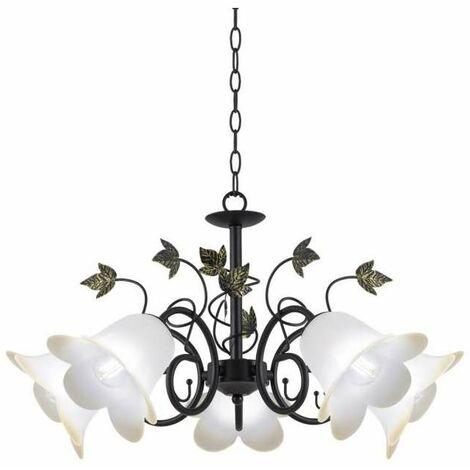 Lámpara 5 luces negro-oro modelo Begonia 34 cm(alto) 53 cm(ancho)53 cm(fondo).