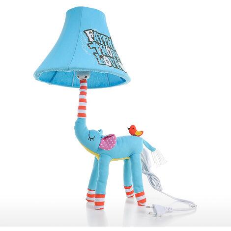Lampara Animal enchufe de la lampara azul del elefante de la UE para ninos mesa de luz de la noche de Pantalla infantil para ninos dormitorio Parvulario con bombilla LED, azul claro, la UE