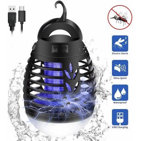 Lámpara antimosquitos LITZEE, 2 en 1 linterna, tienda de campaña, lámpara LED para trampa de mosquitos, impermeable con batería de 2200 mAh para acampar