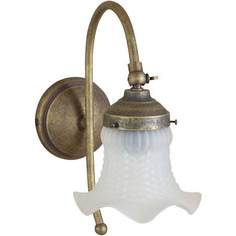 Lámpara aplique de pared, de estilo Art Nouveau en moldeo de latón con efecto envejecido L23XPR13XH30 cm Made in Italy