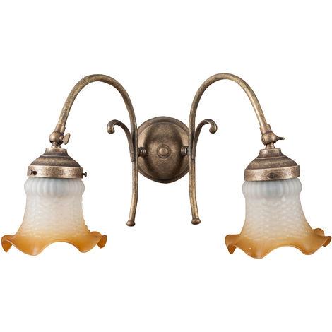 Lámpara aplique de pared de estilo art nouveau en moldeo de latón con efecto envejecido L40XPR25XH24 cm Made in Italy