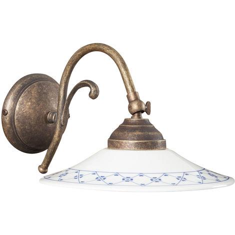 Lámpara aplique de pared de estilo Country en moldeo de latón acbado con efecto envejecido L30XPR21XH15 cm Made in Italy