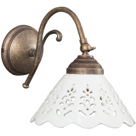 Lámpara aplique de pared de estilo Country en moldeo de latón con efecto envejecido L30XPR18XH23 cm Made in Italy