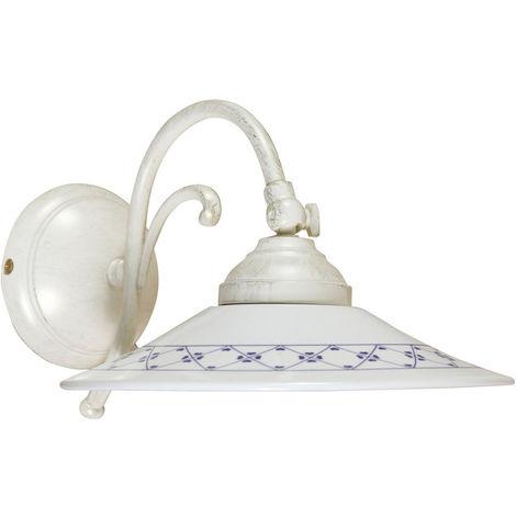 Lámpara aplique de pared, de estilo Country en moldeo de latón con efecto envejecido L30XPR21XH18cm Made in Italy