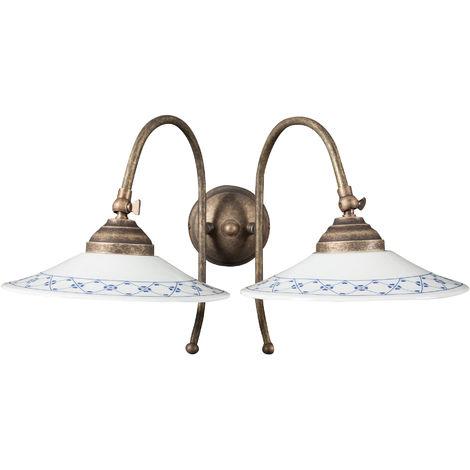 Lámpara aplique de pared de estilo Country en moldeo de latón con efecto envejecido L42XPR28XH26 cm Made in Italy