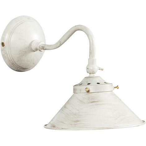 Lámpara aplique de pared, de estilo Country en moldeo de latón con efecto patinado blanco envejecido L25XPR16XH17cm Made in