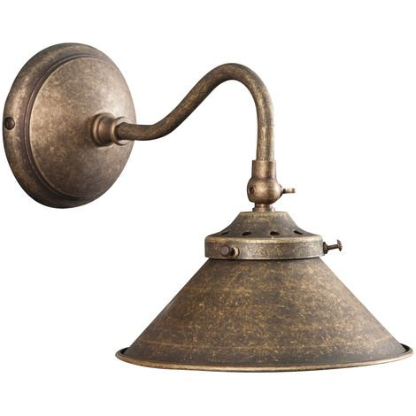 Lámpara aplique de pared de estilo Country en moldeo de latón envejecido L25XPR16XH17 cm Made in Italy