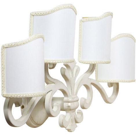 Lámpara aplique de pared, de estilo florentino en moldeo de latón con efecto envejecido L56XPR17XH30 cm Made in Italy