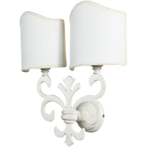 Lámpara aplique de pared, de estilo florentino en moldeo de latón con efecto patinado blanco envejecido L33XPR17XH40 cm Made