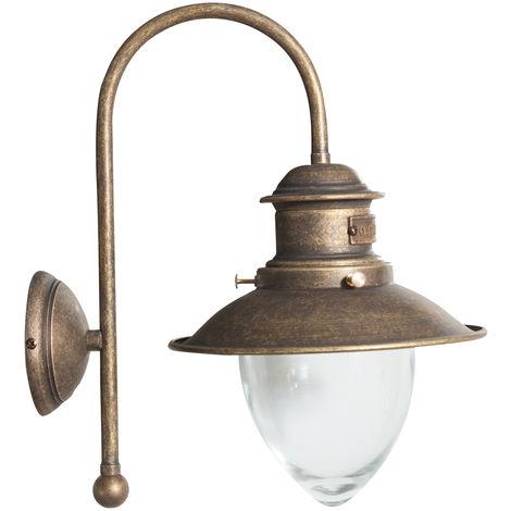 Lámpara aplique de pared, de estilo Vieja Marina en moldeo de latón con efecto envejecido L30XPR22XH37 cm Made in Italy