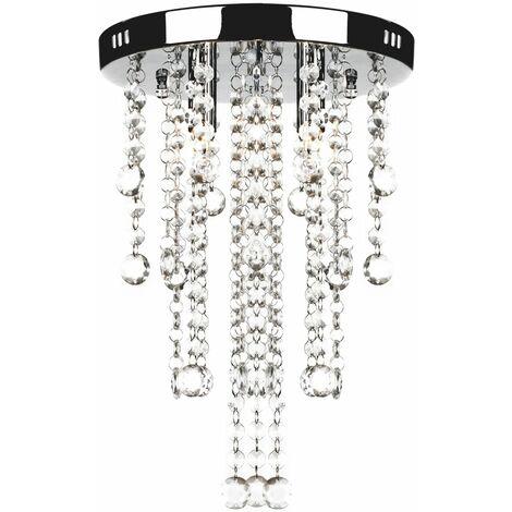 """main image of """"Lámpara blanca colgante de metal con adornos de cristal - Blanco"""""""