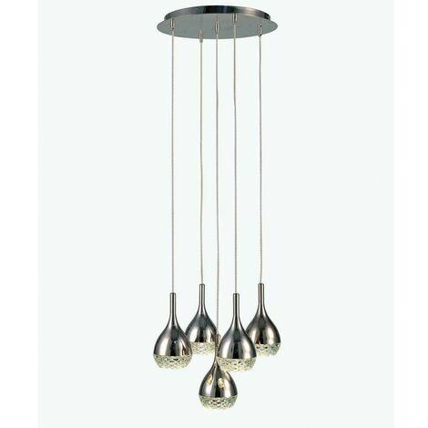 Lámpara circular de 5 colgantes cromo y cristal modelo KHALIFA