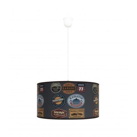 LAMPARA COLGANTE 1 LUZ VINILOS LOGOS Color Gris