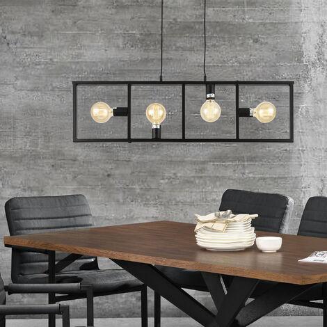 Lámpara colgante 151 cm 4 soporte Araña con marco de la lámpara 100 x 4 x 28 cm Diseño Luz interior Metal Negro