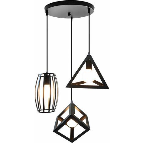 Lampara Colgante 3 Cabeza Disco Redondos Triángulo Geométrico Oliva Cuadrados Luz de Techo Grupo de 3 Vías Moderno Creativo Combinación para Sala Cocina (Negro)