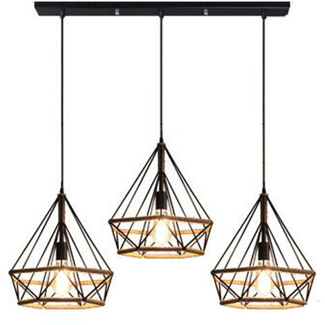Lámpara Colgante 3 Cabezas Palo Vintage Industial Diamante Cuerda de cáñamo Pirámide Pájaro Jaula Luz de Techo Grupo de 3 Vías de Hierro Restaurante Bar Pasillo (Negro)