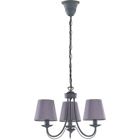 Lámpara colgante 3 tulipas grise tela y metal Cortez 3xE14 (Trio Lighting 110600378)