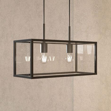 Lámpara colgante Beyza forma de linterna, 2 luces
