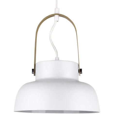 Lámpara colgante blanca de metal y madera modelo Flam E27 ø240x140mm. (GSC 204400000)